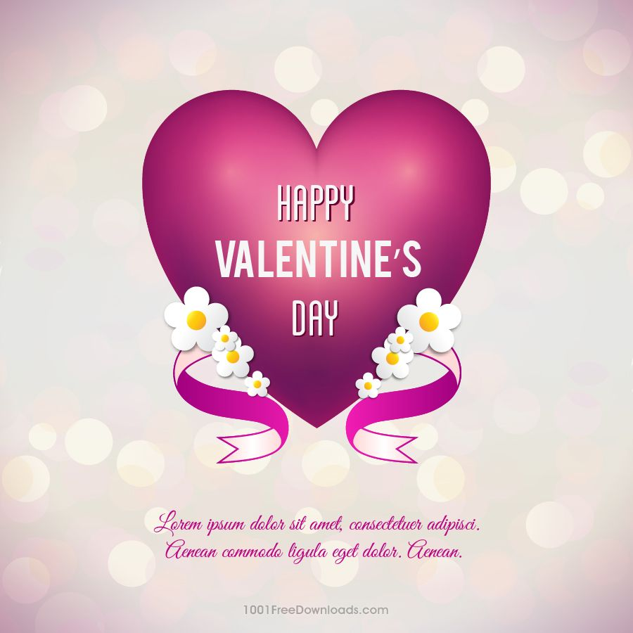Free Valentine's day vector illustration with heart, flowers and ribbon
