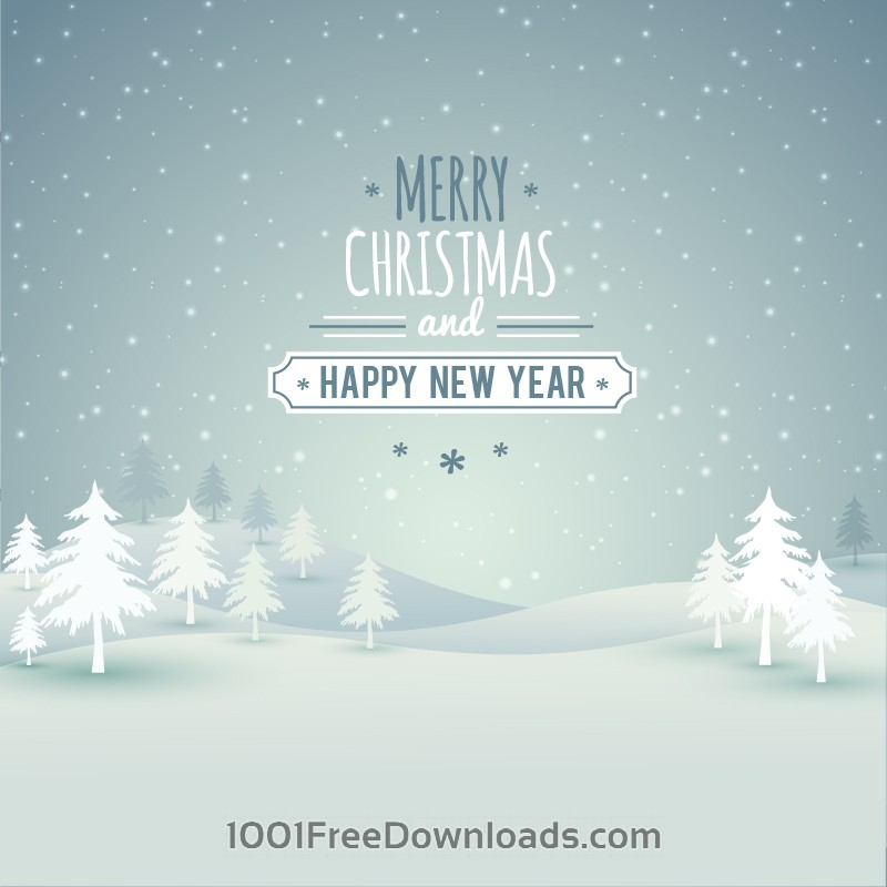 Free Vectors: Christmas landscape with typography | Abstract