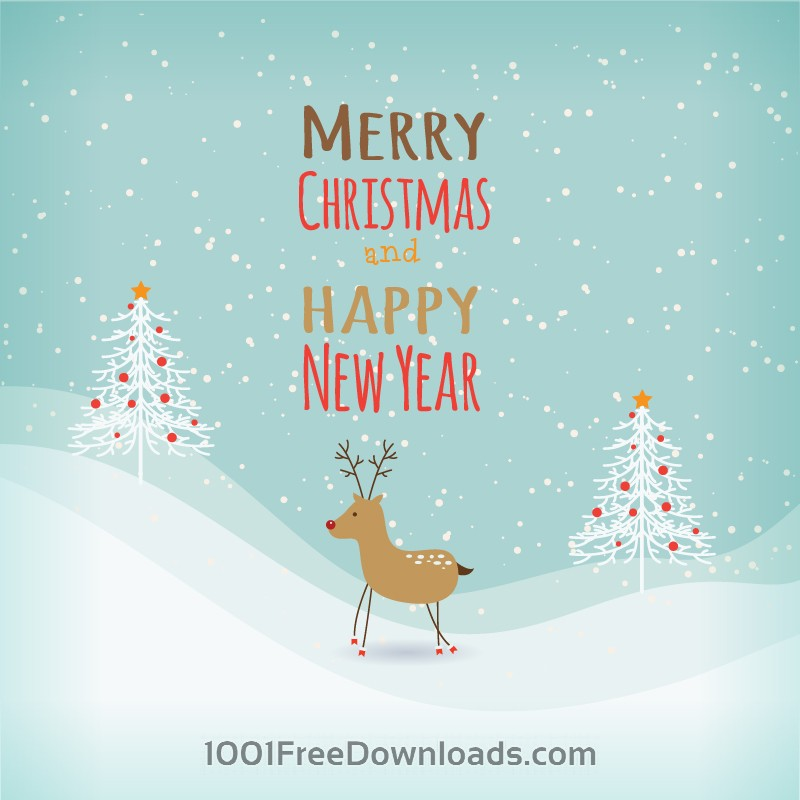 Free Vectors: Christmas background with typography and ren deer | Abstract