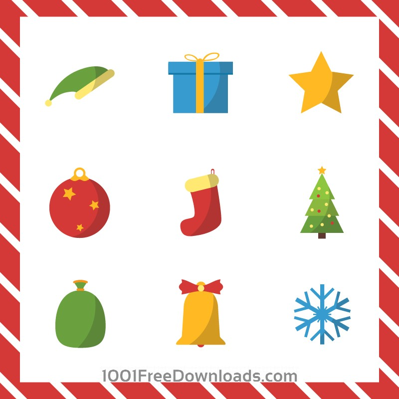 Free Vectors: Christmas vector illustration with set of icons | Abstract