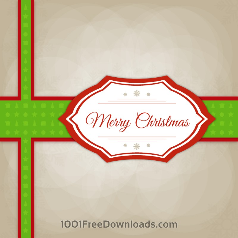 Free Christmas vector illustration with label