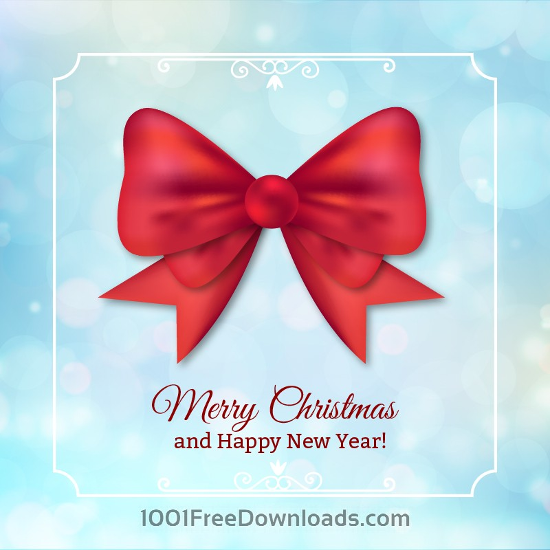 Free Christmas background with typography and bow