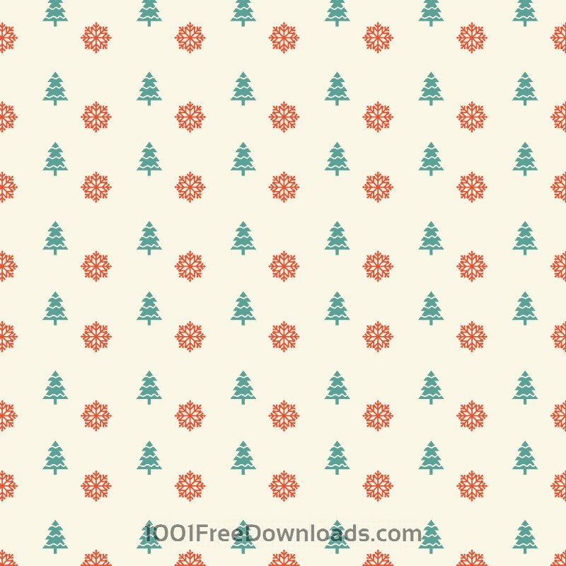 Free Christmas pattern with snowflakes and christmas tree