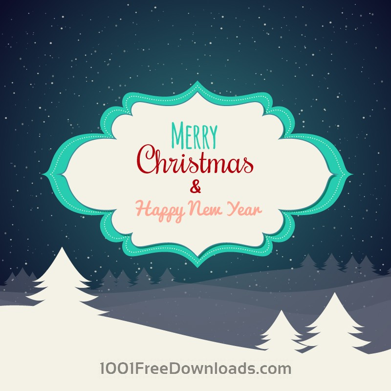 Free Christmas background with typography and label