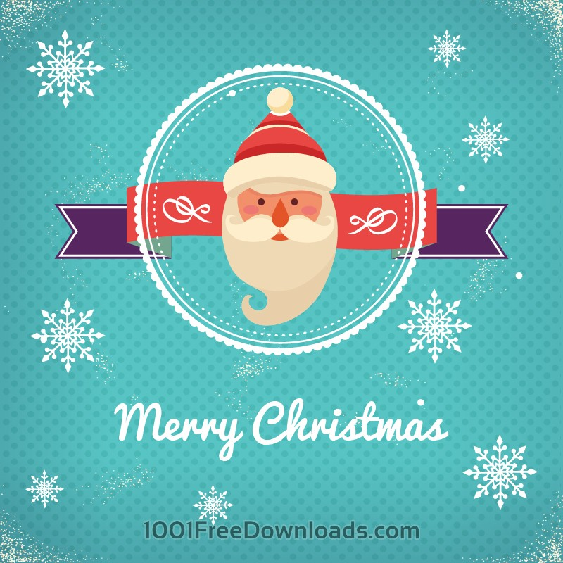 Free Christmas background with typography and badge and santa