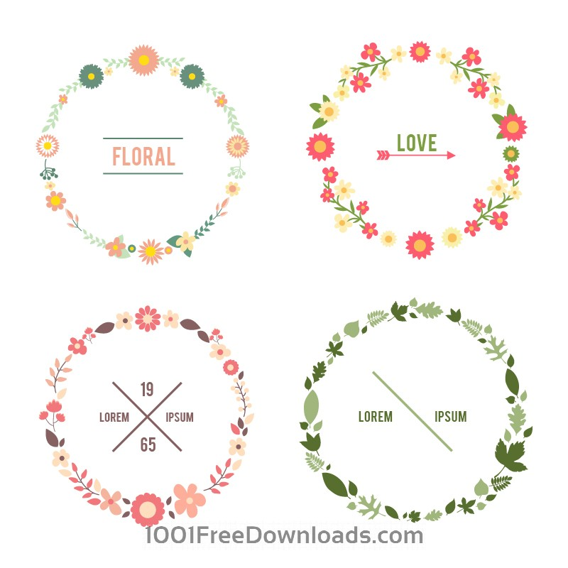 Free Vectors: Floral frame set | Abstract