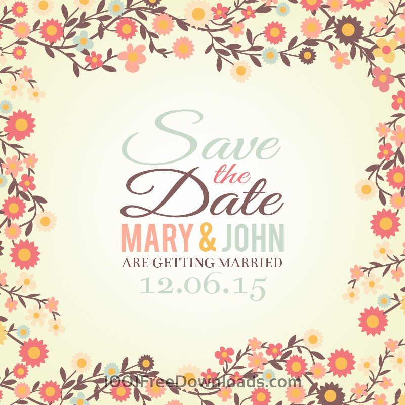 Free Vectors: Save the date floral card | Backgrounds