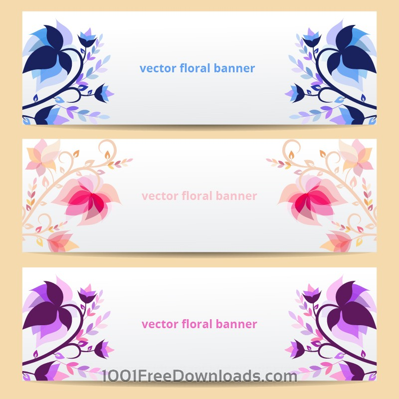 Free Vectors: Floral vector banners | Abstract