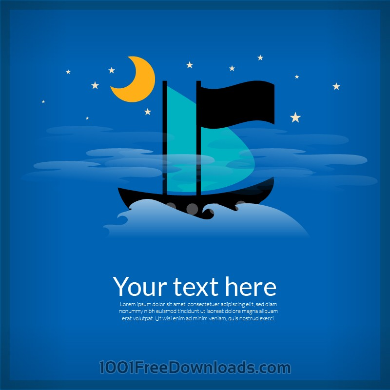 Free Sailing cartoon boat illustration