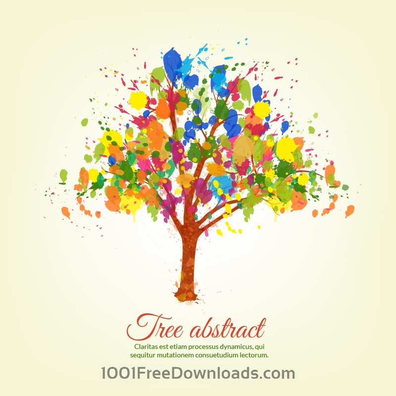 Free Vectors: Colorful splashes tree | Abstract