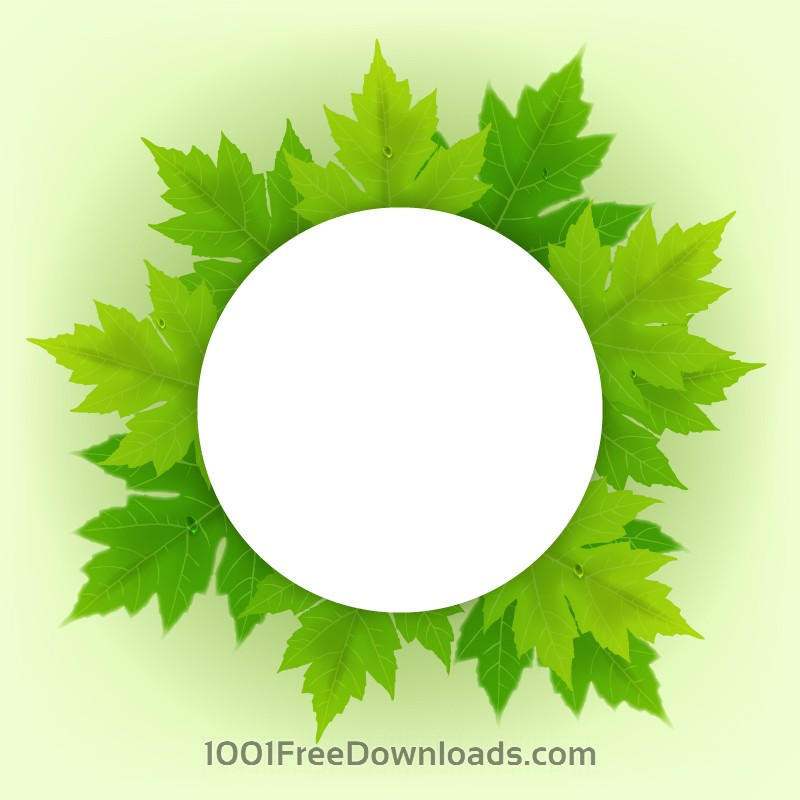 Free Vectors: Badge with fresh green leaves | Abstract