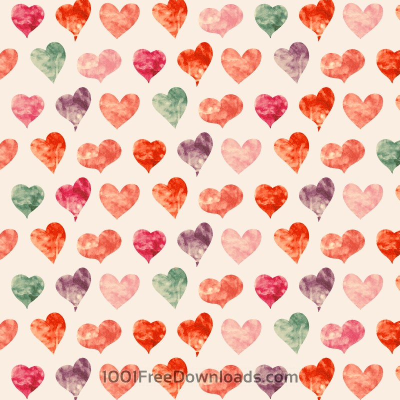 Free Vectors: Watercolor pattern with hearts  | Valentine