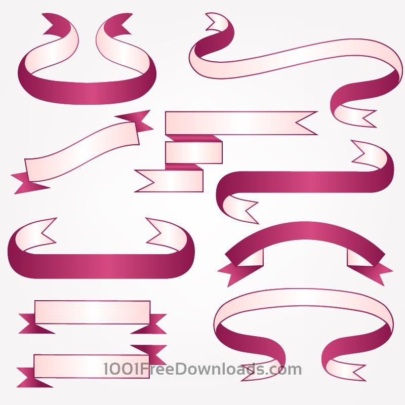 Free Vector set of ribbons