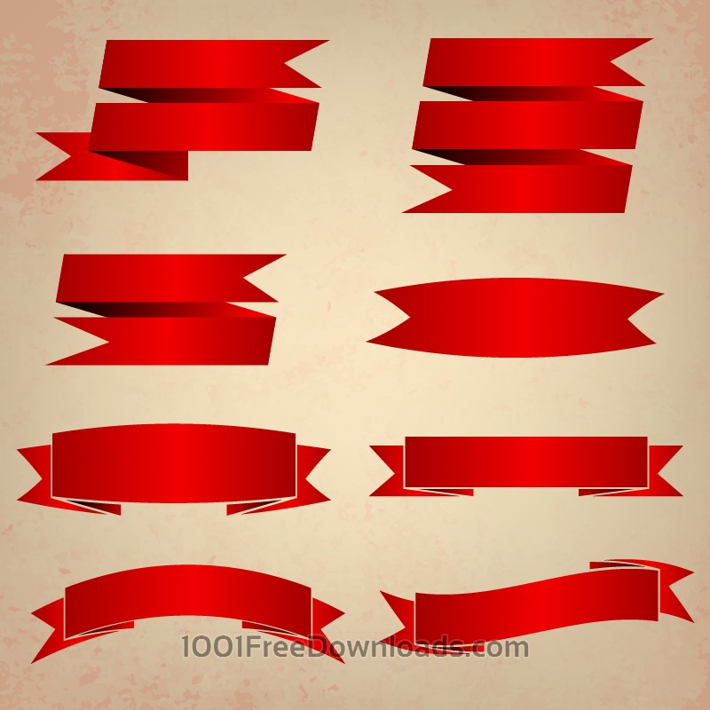 Free Vector set of ribbons