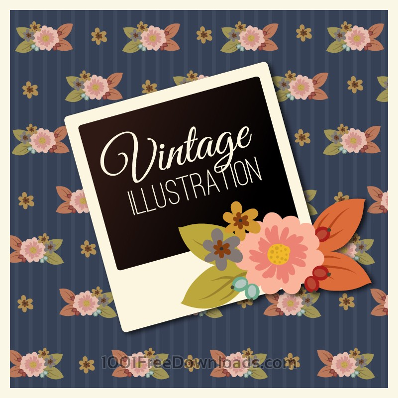 Vintage flower illustration with photoframe