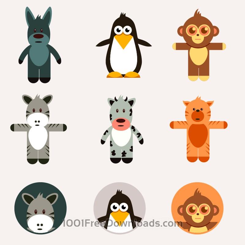Free Cute animals vector set