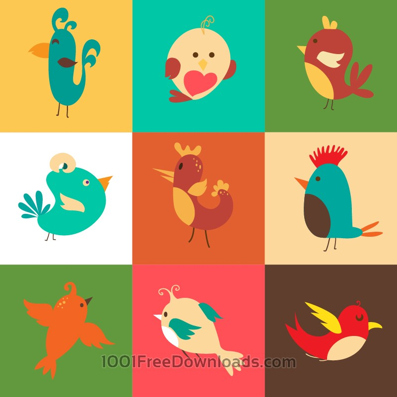 Free Cartoon vector set with birds