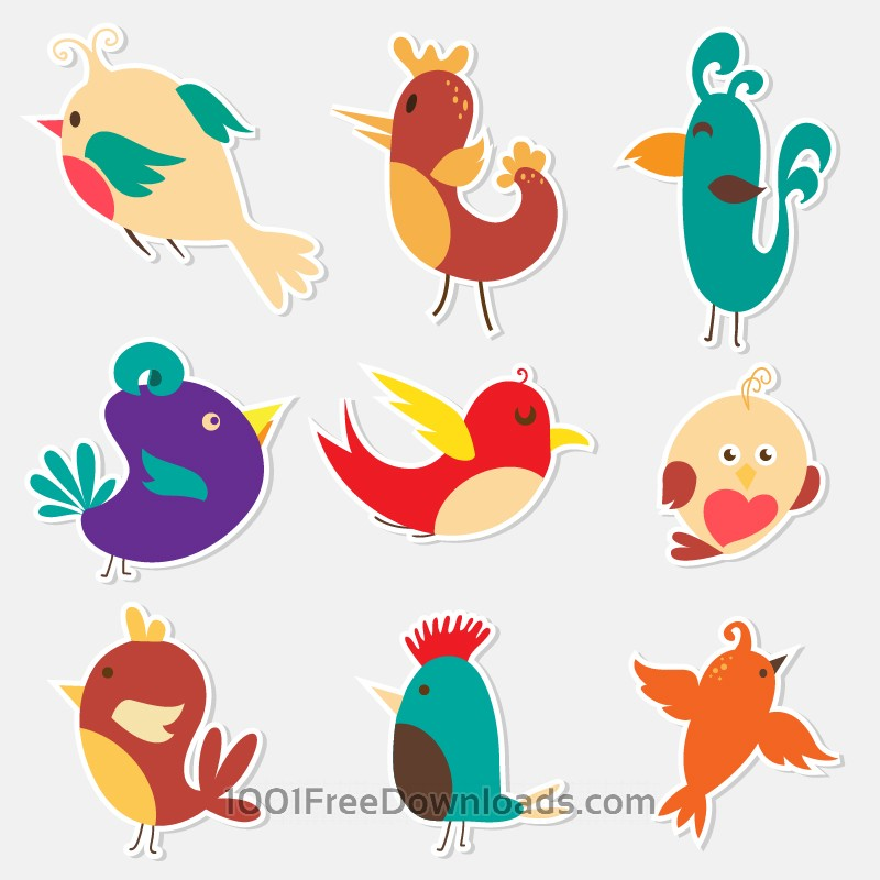 Free Cute sticker birds vector set