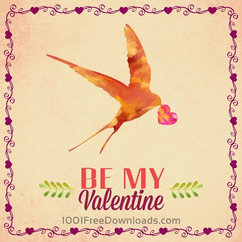 Free Happy Valentine's Day vector illustration with bird