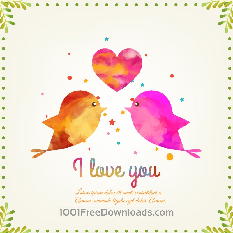 Free Happy Valentine's Day vector illustration with birds