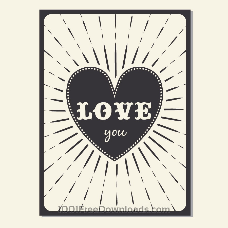 Free Vectors:  Vintage vector poster with love typography | Backgrounds