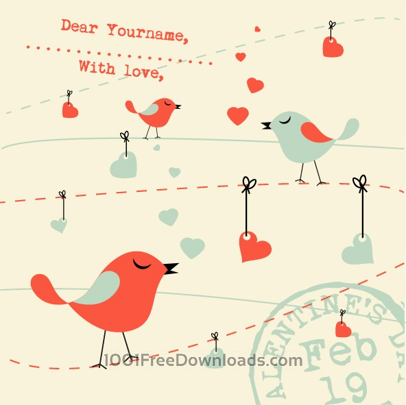 Free Vectors: Valentines Card Background with Birds | Valentine