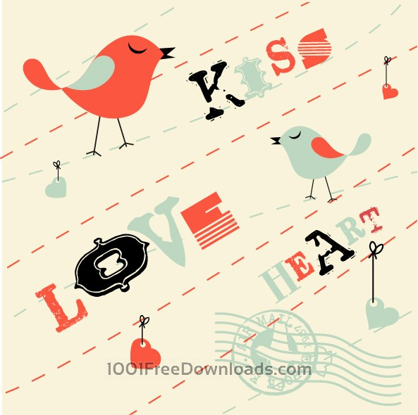 Free Vectors: Valentines Card Background with Birds | Art