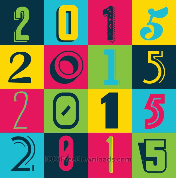Free Vectors: Colorful 2015 New Year Poster Background | Backgrounds