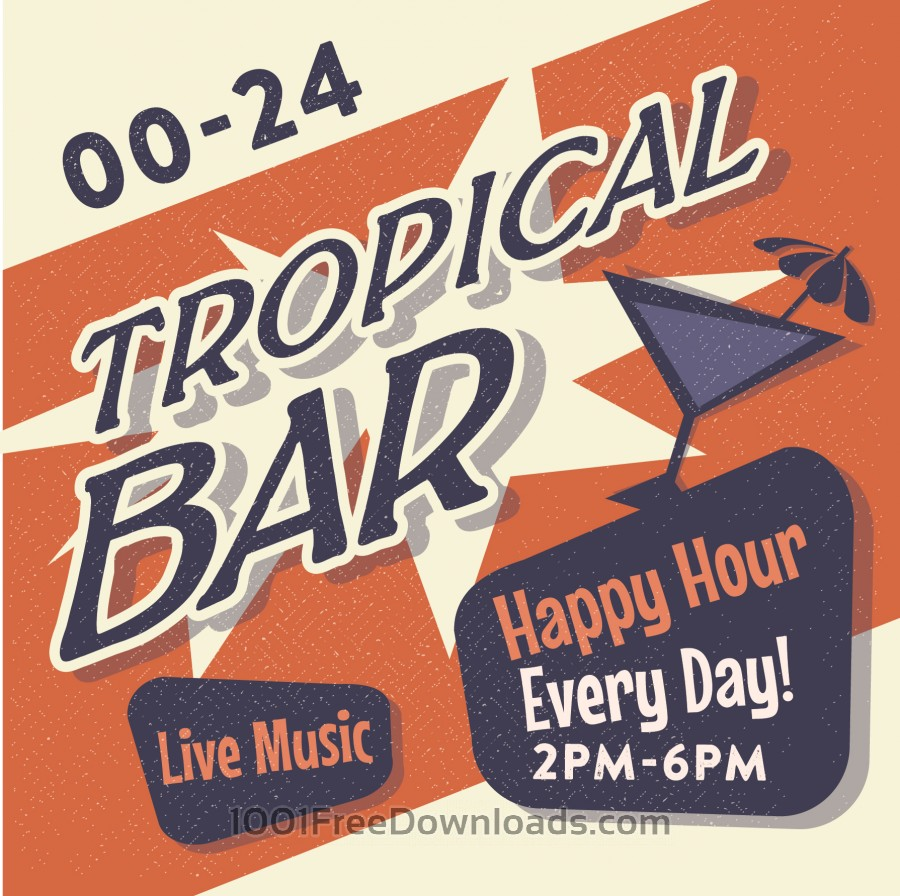 Free Vintage Tropical Bar poster