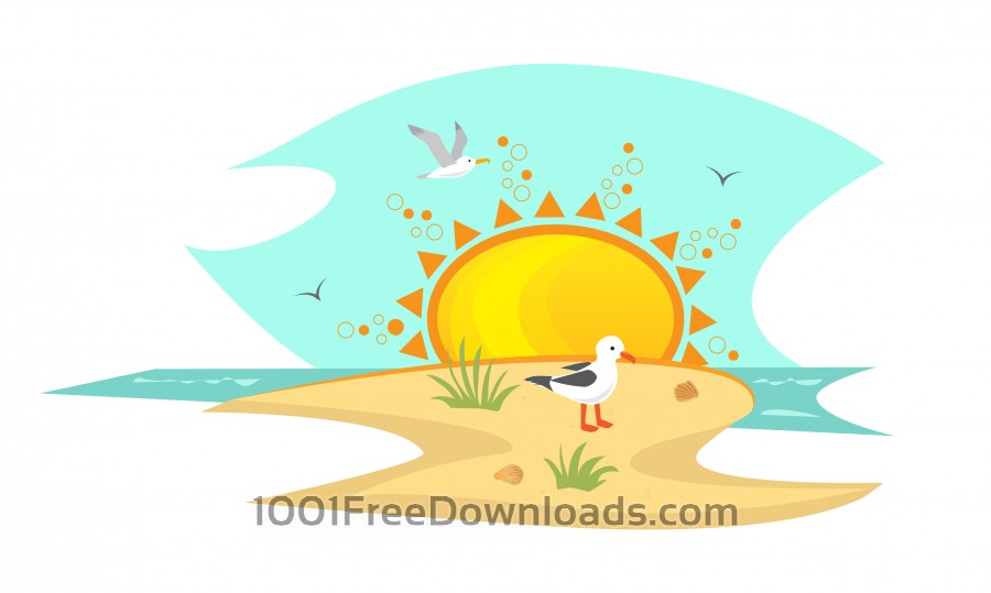 Free Vectors: Beach With Seagulls | Icons