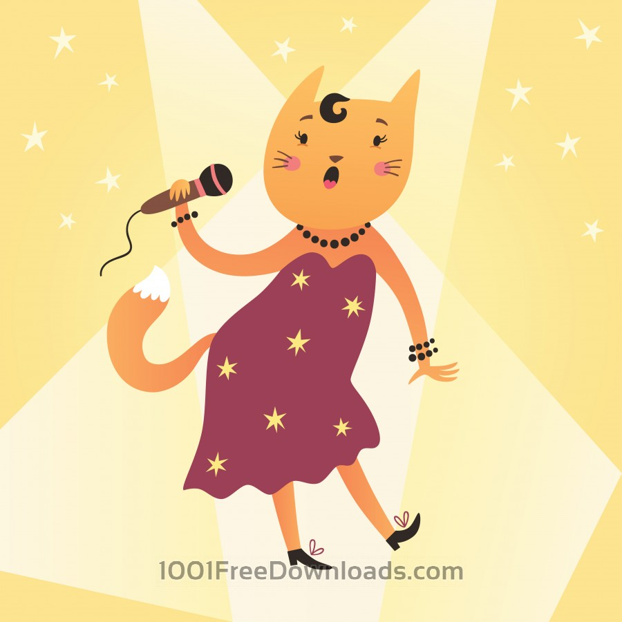 Free Vectors: Cat singer | Abstract