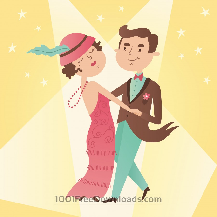 Free Illustration of vintage dance couple
