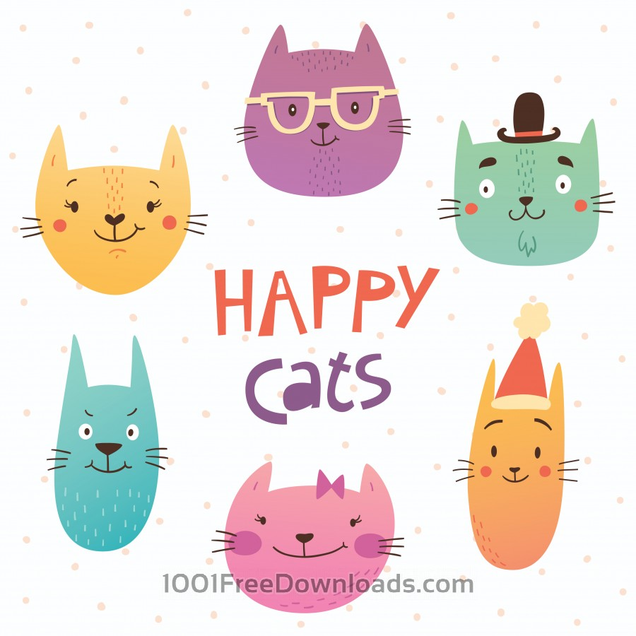 Free Vectors: Funny cats faces | Abstract