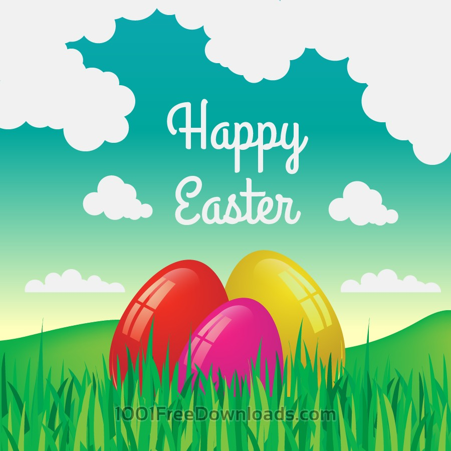 Free Easter illustration with flowers and egg