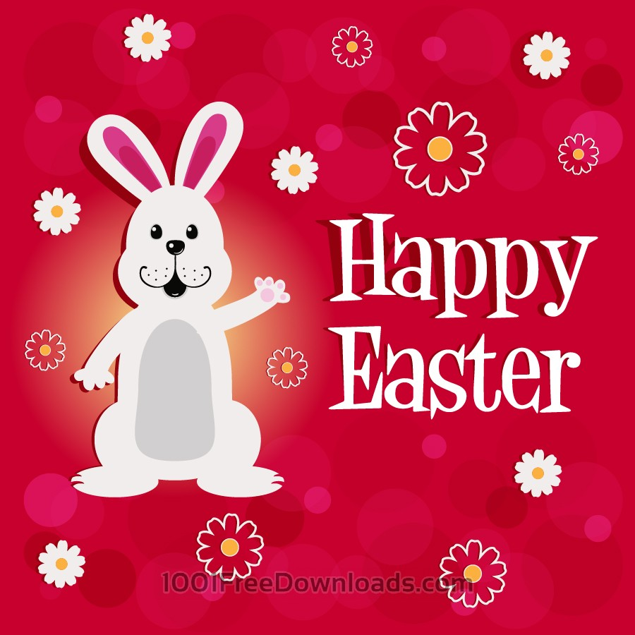 Free Easter illustration with rabbit and flowers