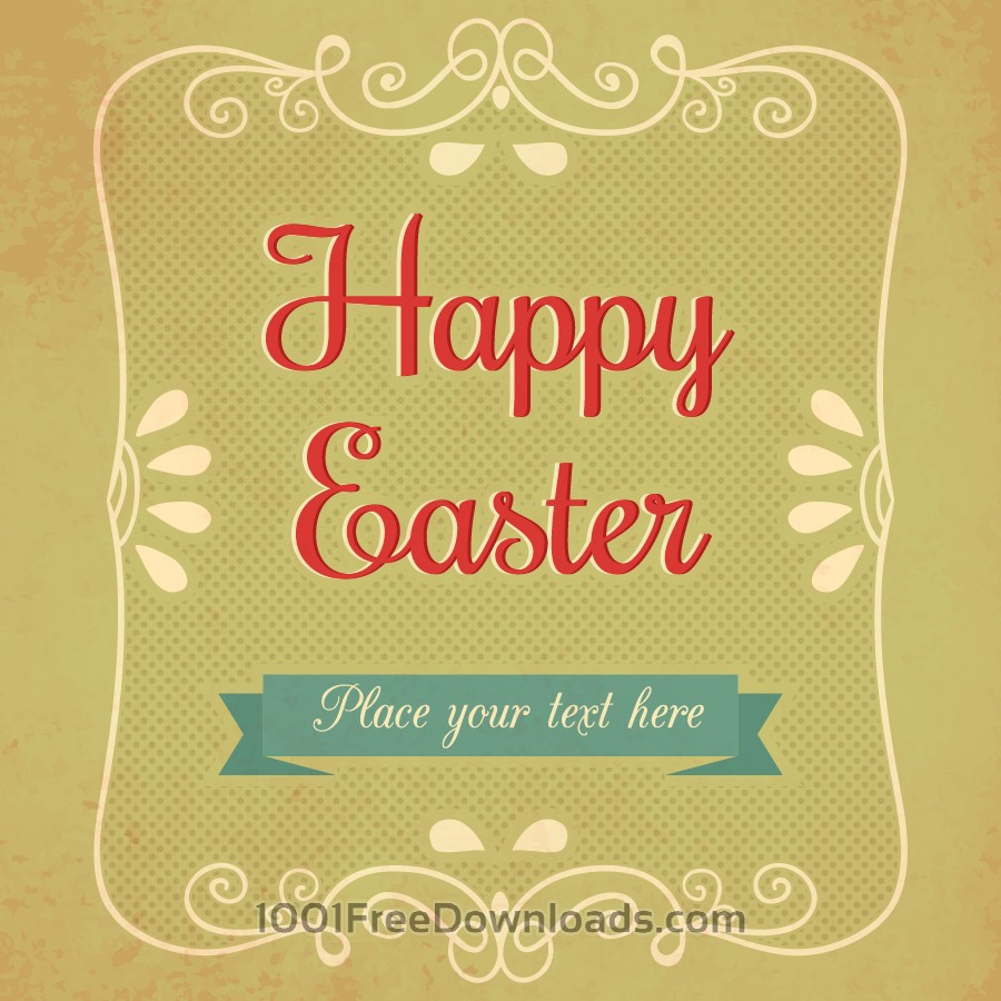 Free Vectors: Vintage easter illustration with floral frame | Backgrounds