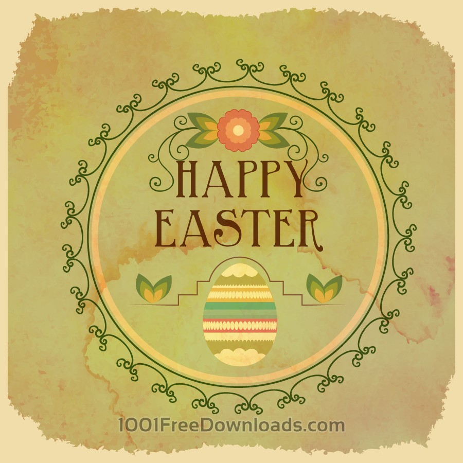 Free Vectors: Vintage easter illustration with frame,egg and flowers | Backgrounds