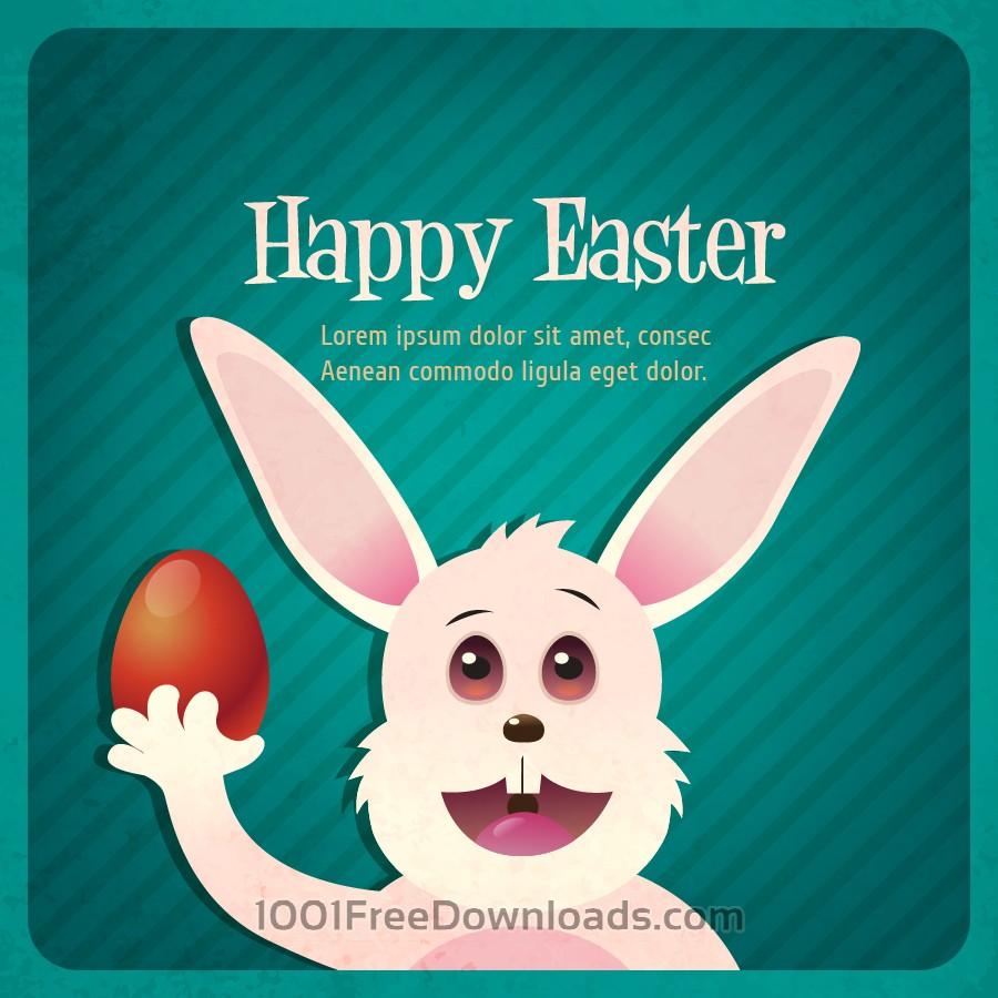 Free Vectors: Vintage easter illustration with rabbit | Backgrounds