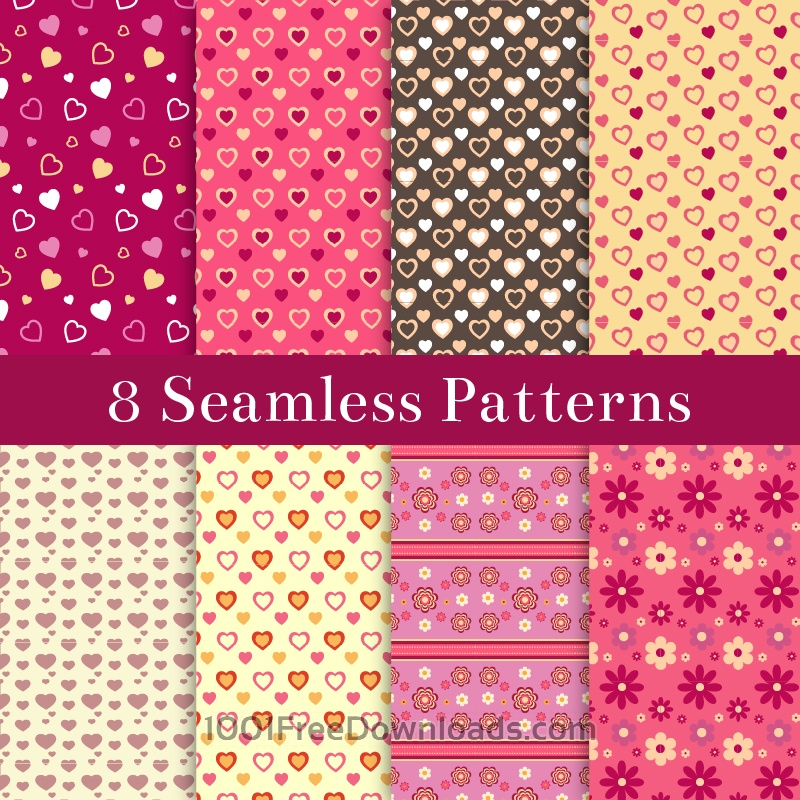 Free Vectors: Valentine's Day Patterns Set | Abstract