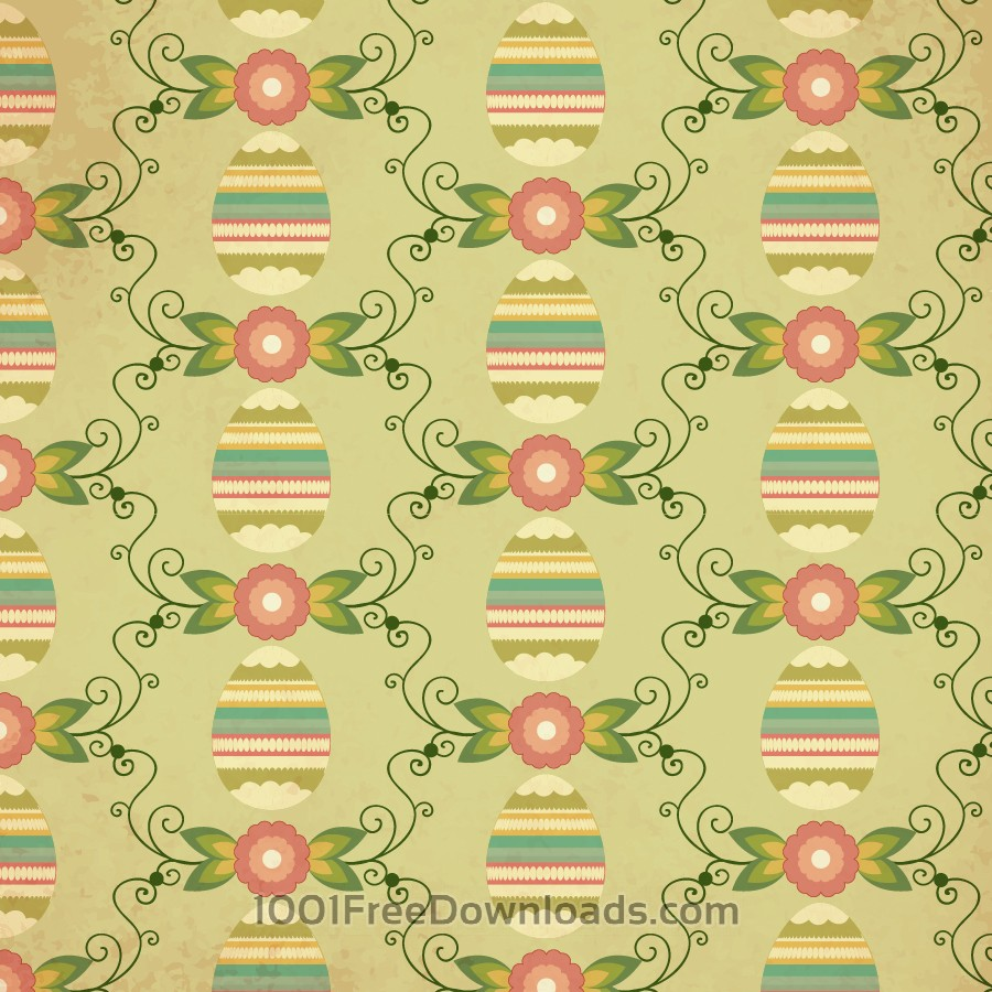 Free Vectors: Easter pattern with egg, flower and decoration | Patterns