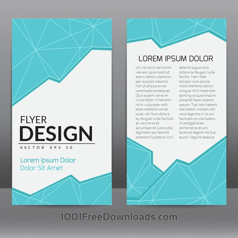 Free Vectors Flyer Template With Blue Polygonal Background  Abstract