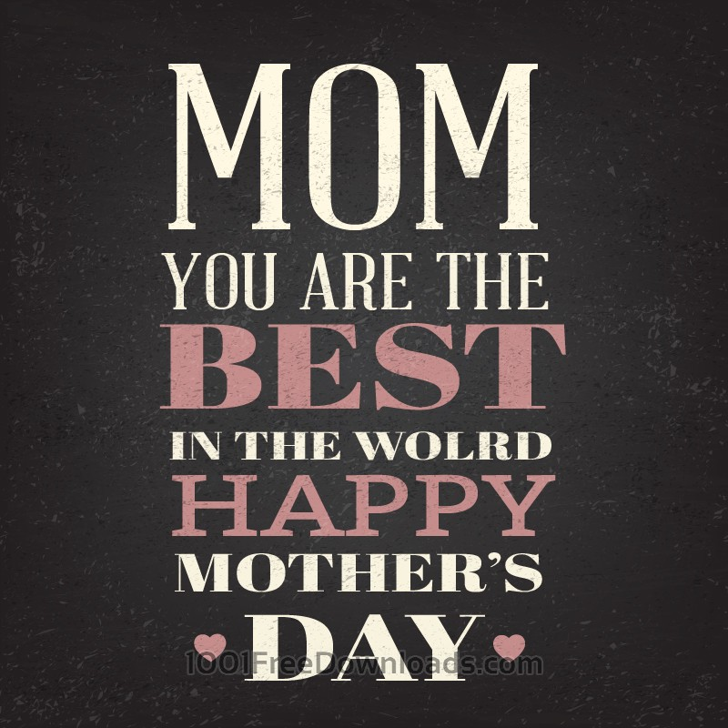 Free Happy Mother's Day Typography On Blackboard With Chalk