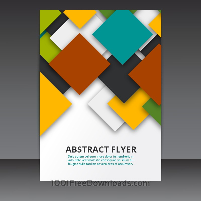 Free Flyer Template Vector Design with colorful 3D Squares
