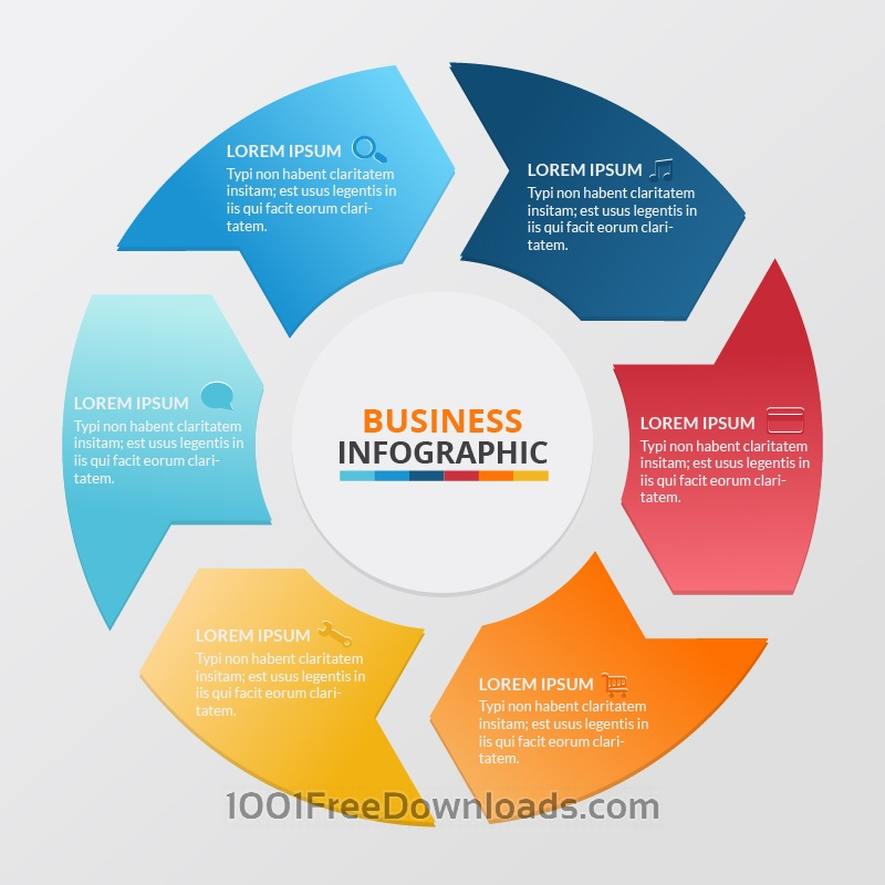 Free Business infographic of colorful circular banners with arrows