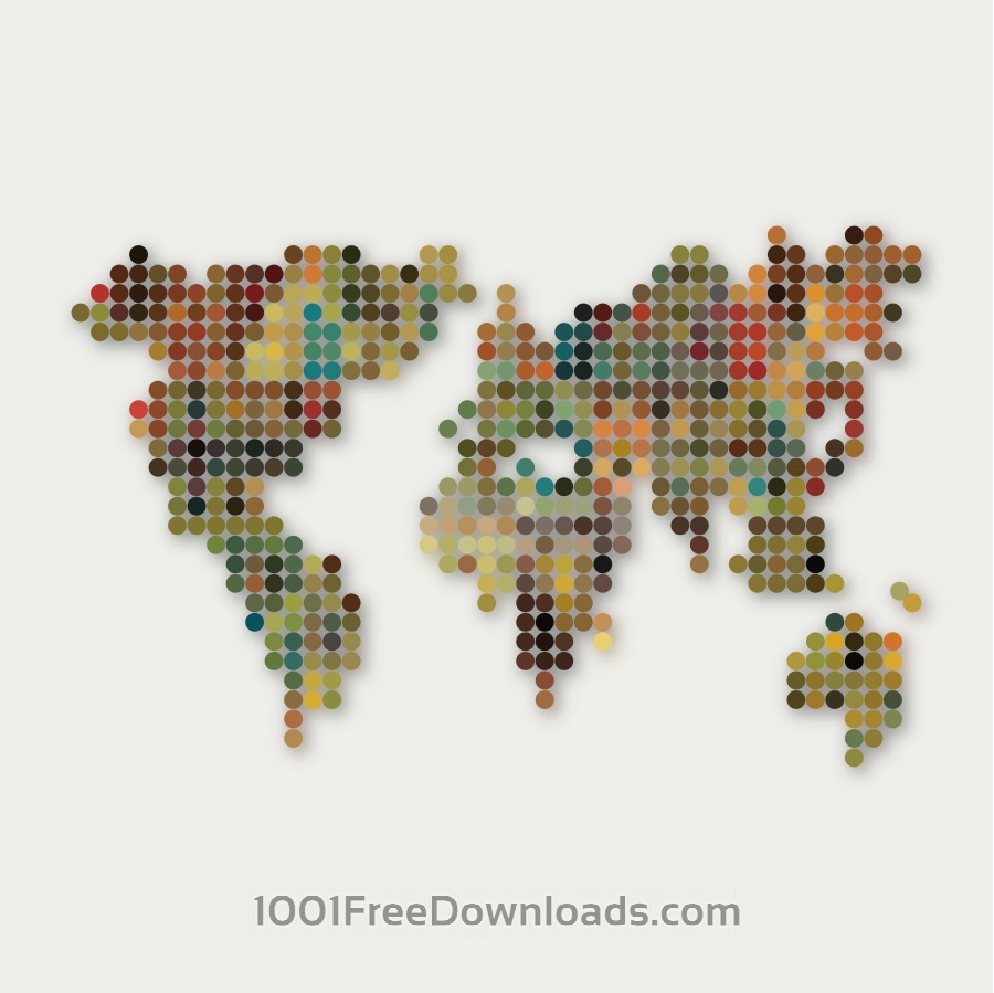 Abstract colorful dot style world map pattern background