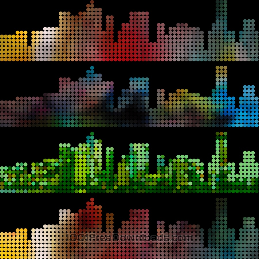 Free abstract colorful dot style city building pattern background