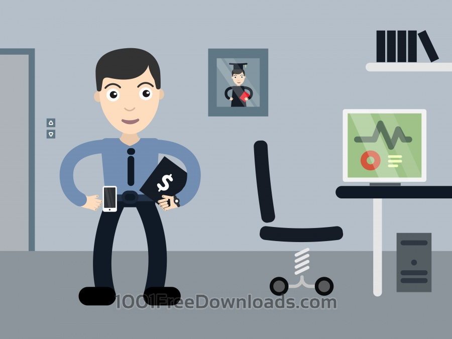 Free Businessman profession vector character illustration