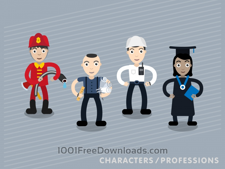 Free Vector characters in different professions