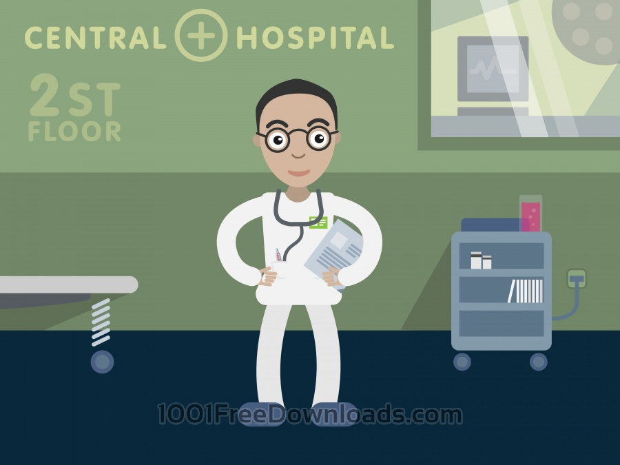 Free Doctor profession vector character illustration