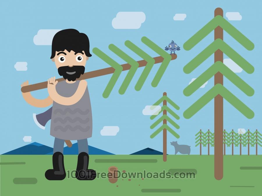 Free Lumberman profession vector character illustration